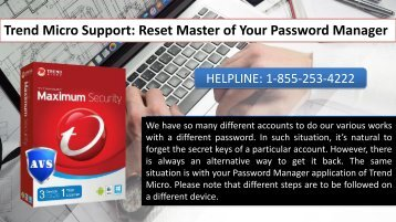 Trend Micro Support Reset Master of Your Password Manager
