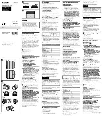 Sony SEL30M35 - SEL30M35 Istruzioni per l'uso Svedese