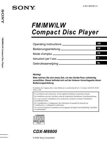 Sony CDX-M8800 - CDX-M8800 Istruzioni per l'uso