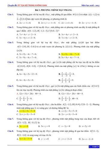 OXYZ - 168 BÀI TẬP PHƯƠNG TRÌNH MẶT PHẲNG - CÓ HƯỚNG DẪN GIẢI - THBTN - NH 2016 - 2017