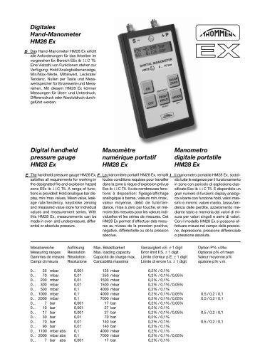 Digitales Hand-Manometer HM28 Ex Manometro digitale portatile ...