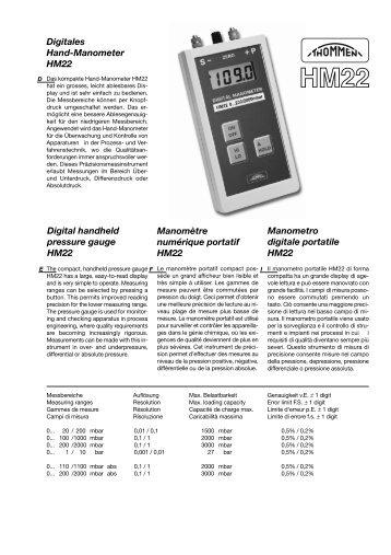 Digitales Hand-Manometer HM22 Manometro digitale portatile ...