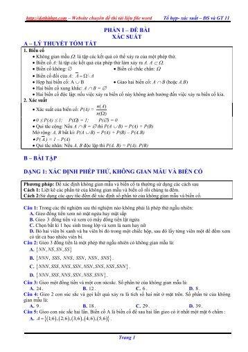 Lý thuyết + Bài tập trắc nghiệm chương Tổ hợp - Xác suất - Đặng Việt Đông (163 trang)
