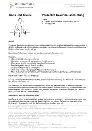 Tipps und Tricks: Verdeckte Gewinnausschüttung - M. Stamm AG
