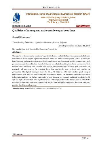Qualities of monogerm male-sterile sugar beet lines