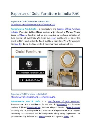 Exporter of Gold Furniture in India RAC