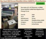 Buy Used 2005 Screen PlateRite Ultima 16000 Pre Press Machine