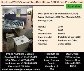 Buy Used 2005 Screen PlateRite Ultima 16000 Pre Press Machine