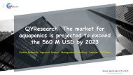 QYResearch: The market for aquaponics is projected to exceed the 560 M USD by 2023