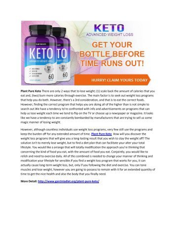 Plant Pure Keto - Boost Metabolism Rate And Loss Weight Faster