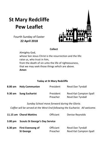 St Mary Redcliffe Church Pew Leaflet - April 22 2018