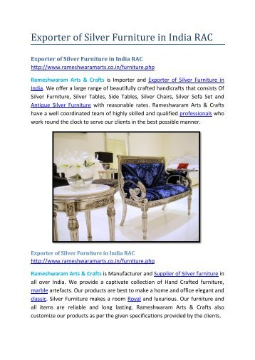 Exporter of Silver Furniture in India RAC