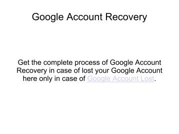 Google Account Recovery Steps