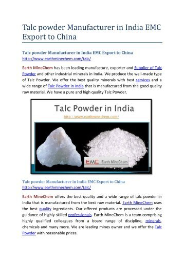 Talc powder Manufacturer in India EMC Export to China
