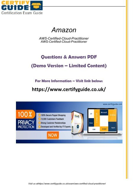 AWS-Certified-Cloud-Practitioner Exam Certification Guides 2018