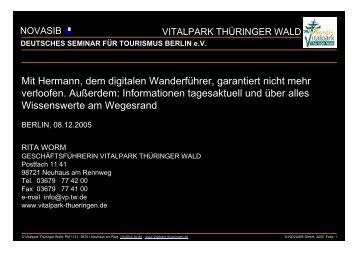 vitalpark thüringer wald - DSFT Deutsches Seminar für Tourismus ...