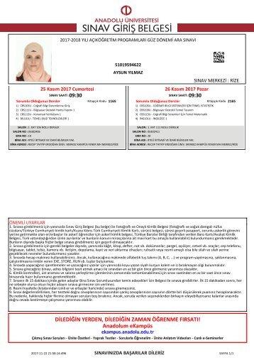 sınav giriş belgesi