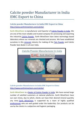 Calcite powder Manufacturer in India EMC Export to China