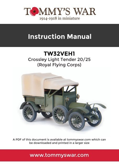 TW32VEH1 Tommy's War Crossley Light Tender instructions