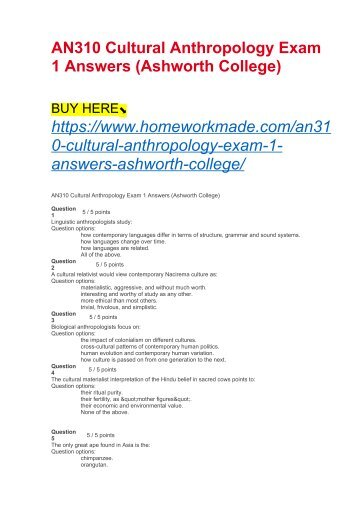 AN310 Cultural Anthropology Exam 1 Answers (Ashworth College)