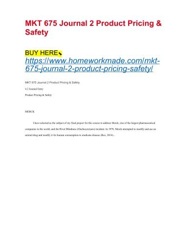MKT 675 Journal 2 Product Pricing & Safety