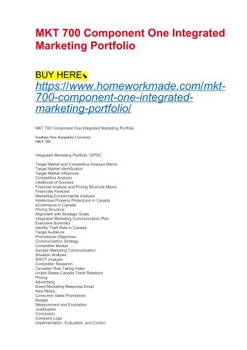 MKT 700 Component One Integrated Marketing Portfolio