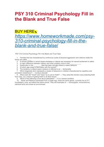 PSY 310 Criminal Psychology Fill in the Blank and True False