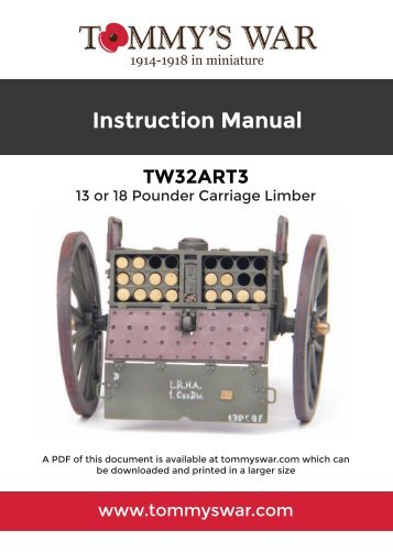 TW32ART3 13 or 18 pounder carriage limber