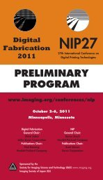 NIP 27 and Digital Fabrication 2011 Conference Preliminary Program