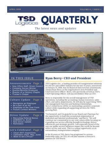 TSD Logistics 1st 2018 Quarter Newsletter