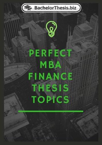MBA Finance Thesis Topics
