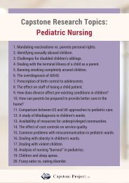 Pediatric Nursing Capstone Project Ideas