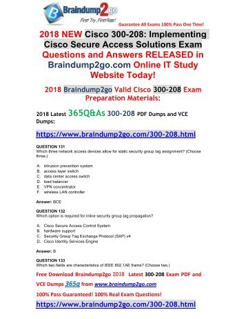 [2018-April-New]300-208 Dumps with PDF and VCE 365Q Free Offer(131-141)
