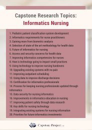 Nursing Informatics Capstone Project Topics