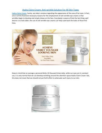 Hydra Claire Cream: Anti-wrinkle Solution For All Skin Types