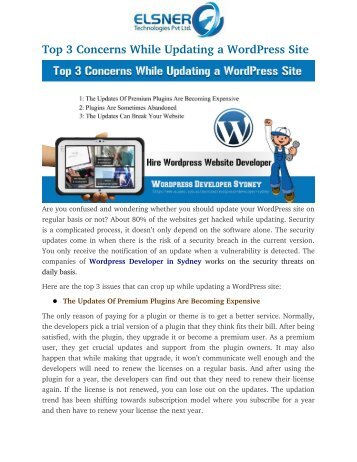 Top 3 Concerns While Updating a WordPress Site