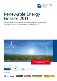Renewable Energy Finance 2011 - Frankfurt School Verlag