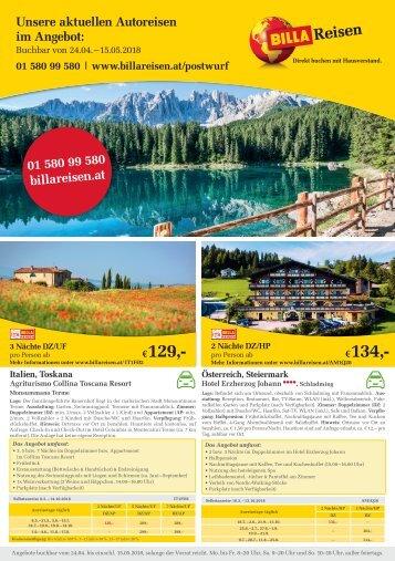 BILLA Reisen Autoreisen-Angebote Postwurf KW17