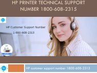 HP Printer 1800-608-2315 Technical Support Number