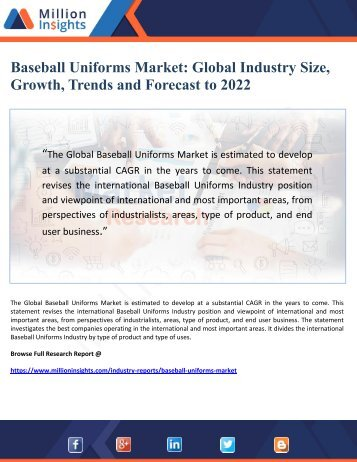 Baseball Uniforms Market- Global Industry Size, Growth, Trends & Forecast  to 2022