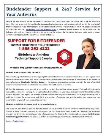Bitdefender Antivirus Support Canada