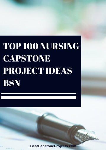 BSN Nursing Capstone Project Ideas