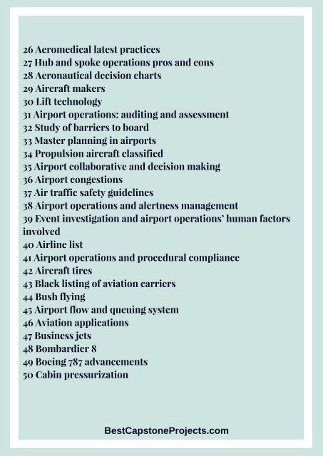 Aviation Capstone Project Ideas