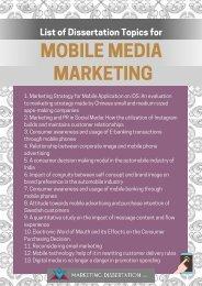 Mobile Marketing Dissertation Topics