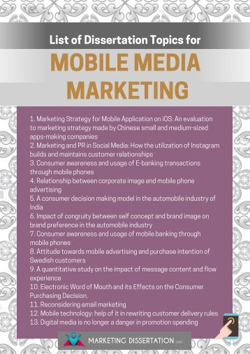 Mobile Marketing Dissertation Topics