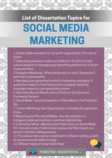 Social Media Marketing Dissertation Topics