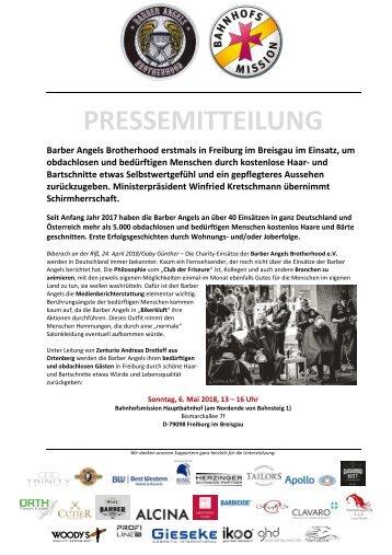 Pressemitteilung Barber Angels in Freiburg am 6.  Mai 2018