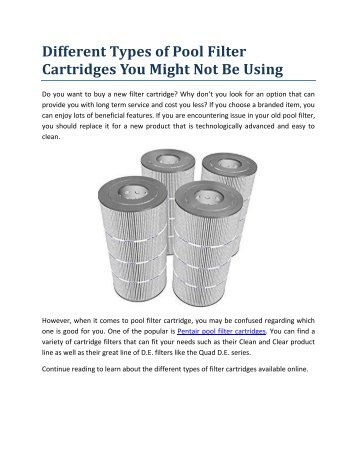 Different Types of Pool Filter Cartridges You Might Not Be Using