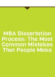 MBA Dissertation Process: the Most Common Mistakes That People Make