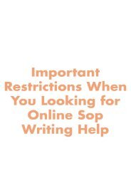 Important Restrictions When You Looking for Online Sop Writing Help